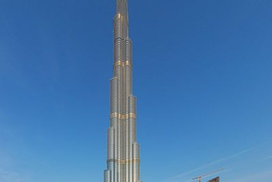 Dangling from the spire of Burj Khalifa for a photo shoot