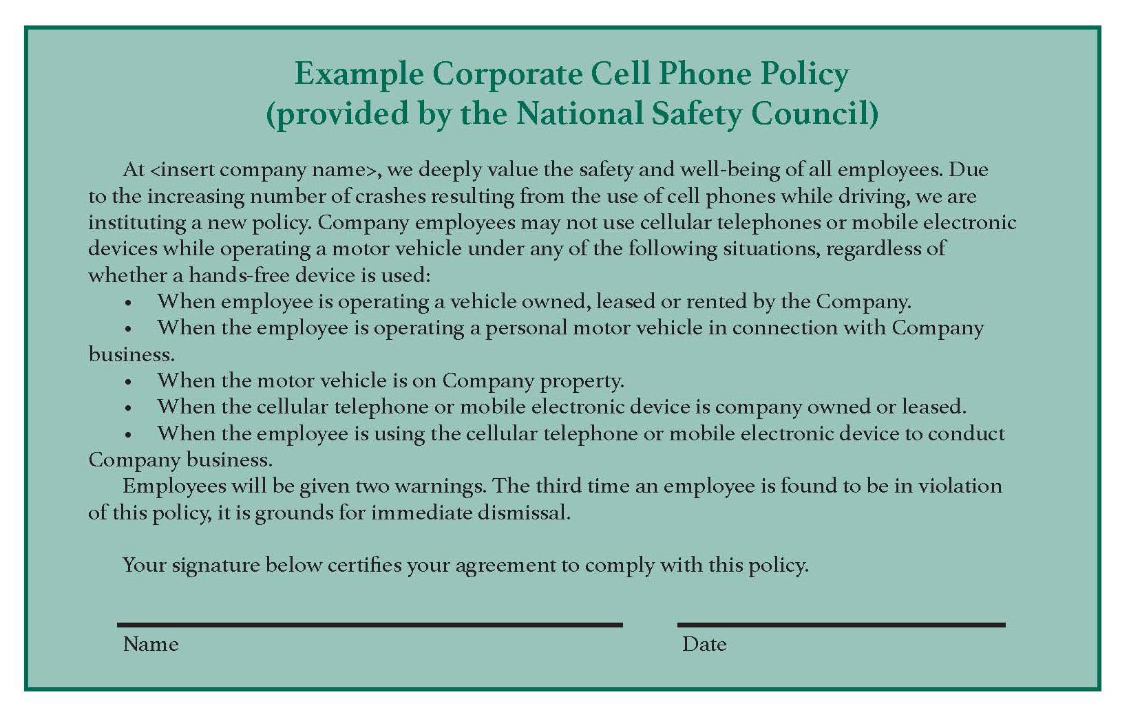 Why you need a written cell phone policy eclean magazine for Company issued cell phone policy template