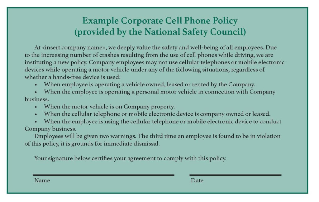 cell phone policy sample