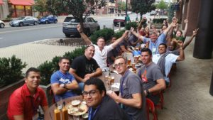 Matt Adwell and a crew of comrades enjoying dinner at the 2015 Huge Convention in National Harbor, MD.